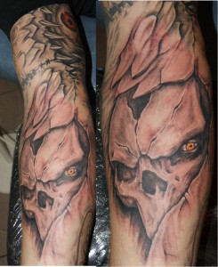 mskull tattoo 3d biomech